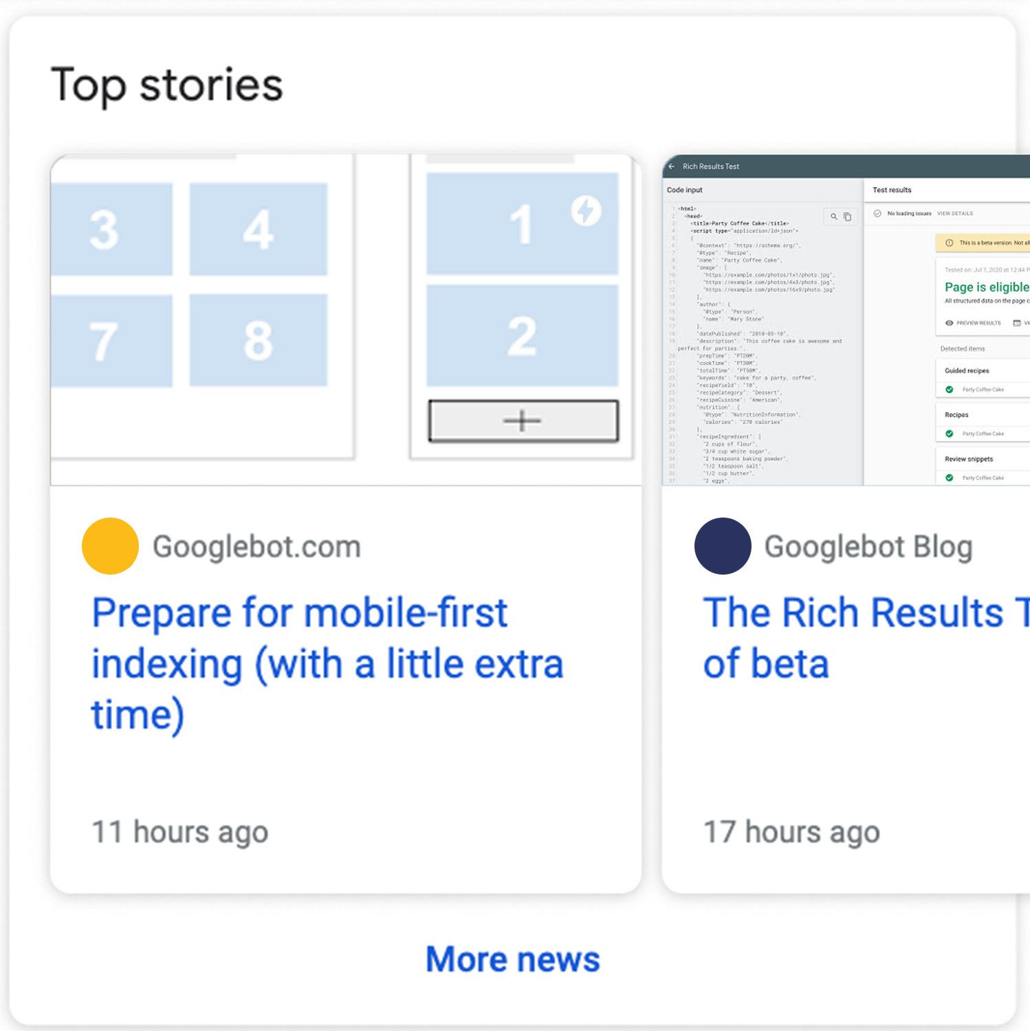 rich results, article category
