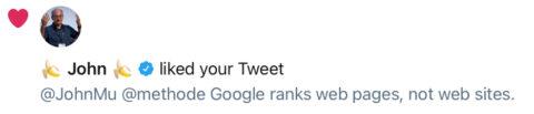 John Mueller confirms Google ranks web pages, not websites.