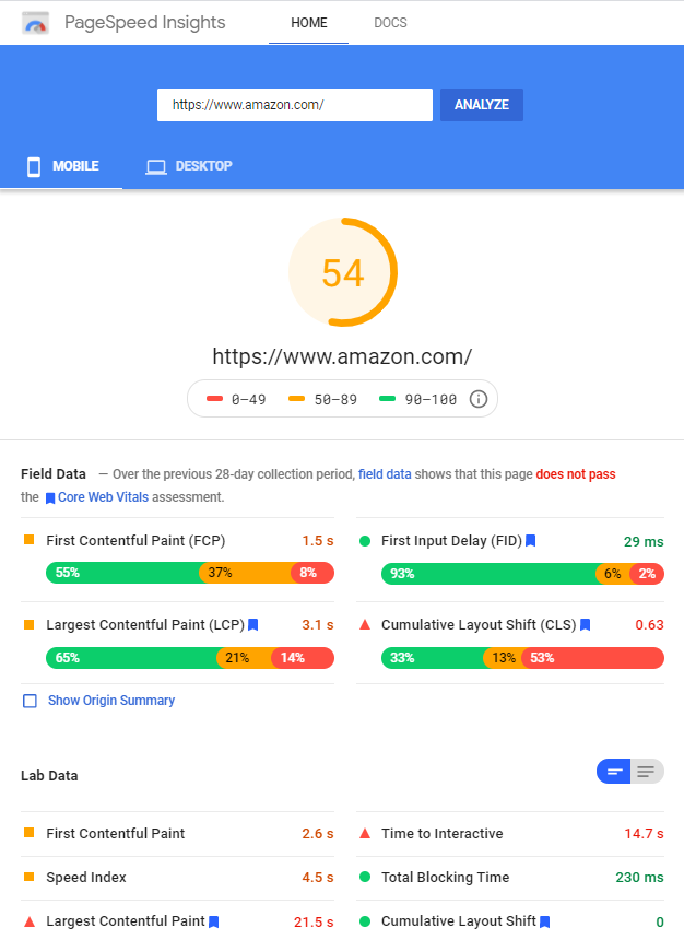 Pagespeed Insights Amazon mobile home page