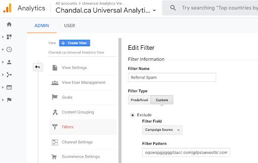 referral spam filter add URLs