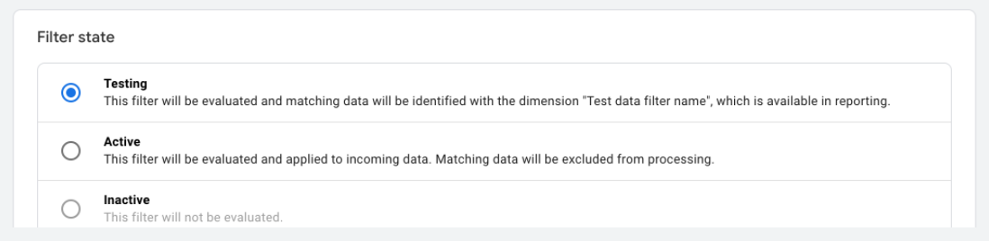 testing filters in Google Analytics 4
