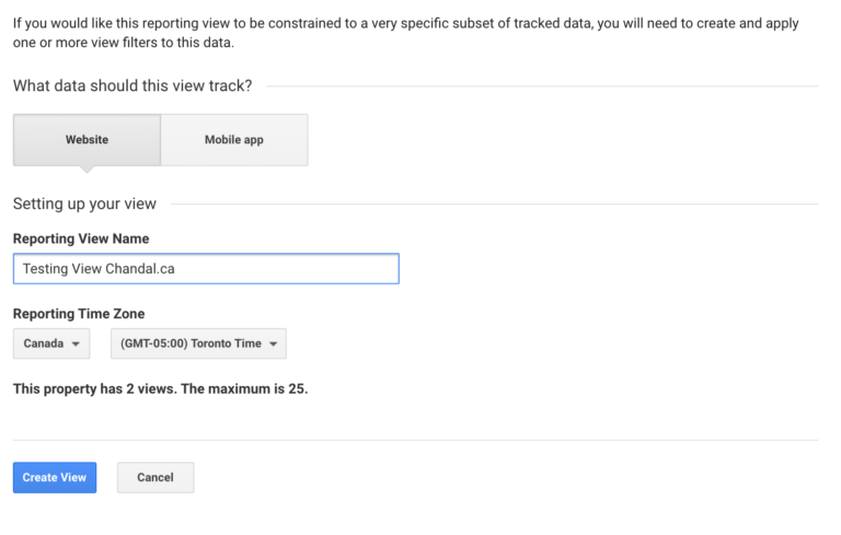 Creating a Testing View in Universal Analytics