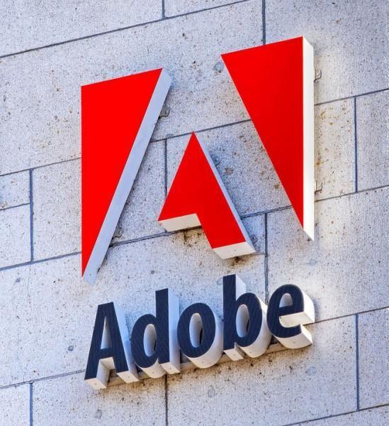 adobe, basel, company, grey, logo, logotype, red, sign, signage, stone, switzerland, wall, white