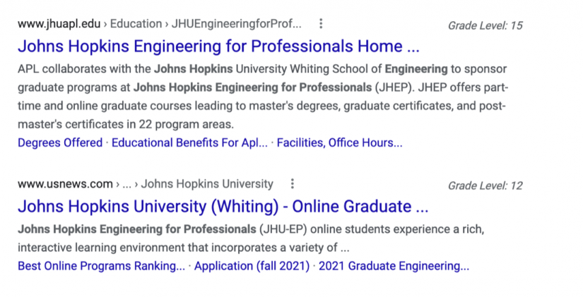 Screenshot of a Google search engine return page shows a grade level displayed by a return